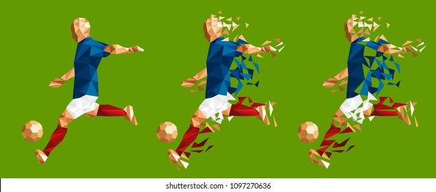 vector illustration soccer football player low-poly style concept france kits uniform colour championship