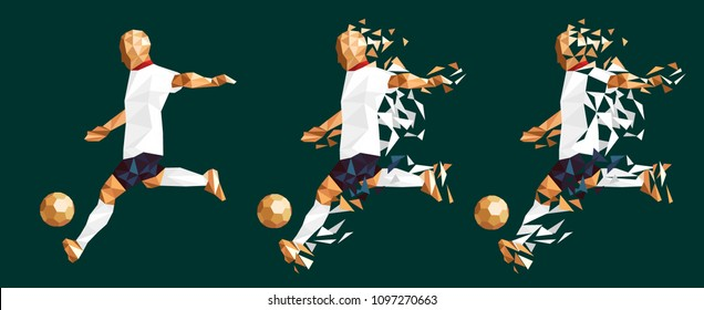 vector illustration soccer football player low-poly style concept england kits uniform colour championship