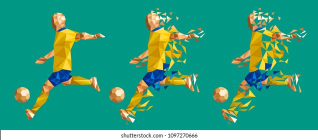 vector illustration soccer football player low-poly style concept sweden kits uniform colour championship