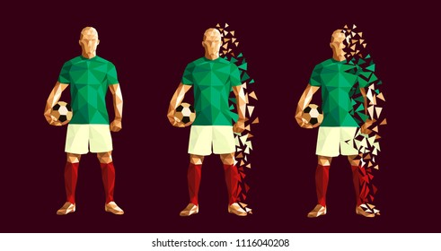 vector illustration soccer football player low-poly style concept mexico kits uniform colour  championship