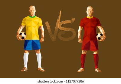 e984a6729 vector illustration soccer football player low-poly style brazil versus  belgium