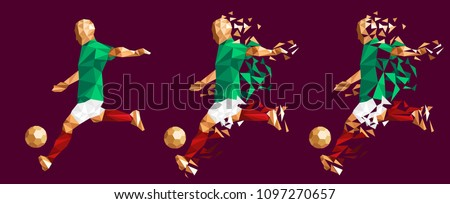 96cfcca421b vector illustration soccer football player low-poly style concept mexico  kits uniform colour championship