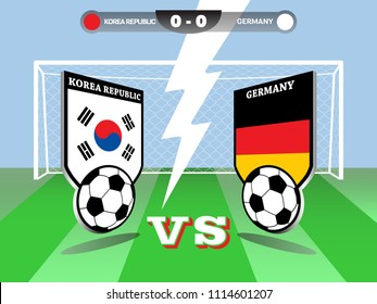 Vector illustration of soccer or football tournament championship, Korea Republic vs Germany, group F