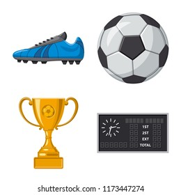 Vector illustration of soccer and gear logo. Collection of soccer and tournament vector icon for stock.