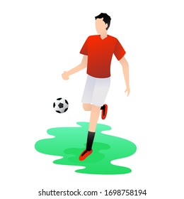 Vector illustration of soccer player in action. Sport concept