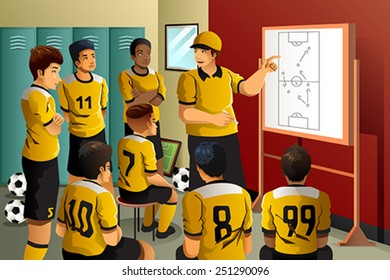 A vector illustration of soccer players in locker room listening to coach talking