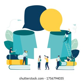 Vector illustration, social communication, two big heads share thoughts, sociability, learning