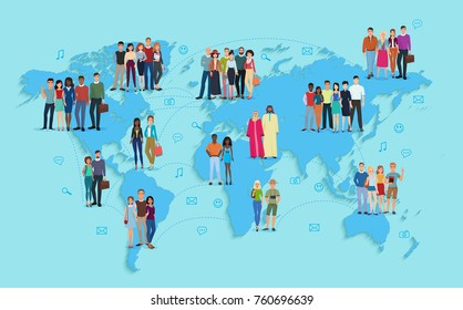 Vector illustration of social and demographic world map on blue background. Multi ethic people in groups.