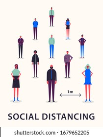 Vector illustration - Social Distancing. keeping distance 1 meter to protect from corona virus (COVID-19). Coronavirus outbreak, prevention and awareness poster.