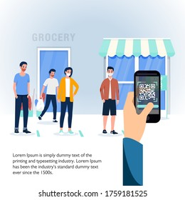 Vector Illustration of Social Distancing Queue in front of grocery and a customer who takes his queue with scanning a QR code on his phone