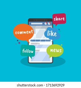 Vector illustration of social media access via smartphone. Suitable for promotion of social media, interactive activities, sharing, making friends, and connecting network, discussion latest news