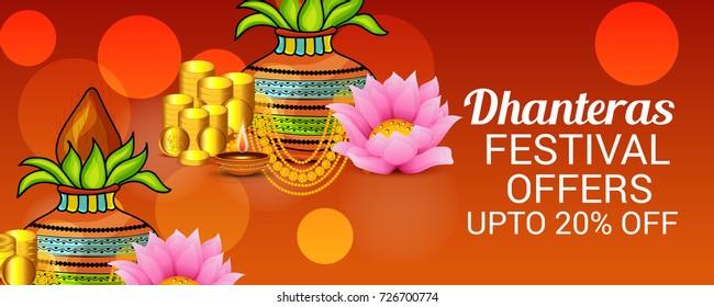 Vector illustration of a Social Media Header Background for Happy Dhanteras Festival. - Shutterstock ID 726700774