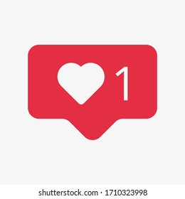 Vector illustration of social media like notification isolated on white background. Notification icon. Heart symbol. Instagram like notification.