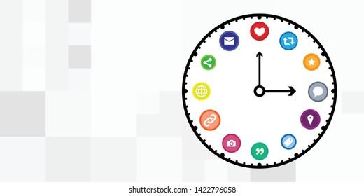 vector illustration of social media posting hours or digital schedule clock concept