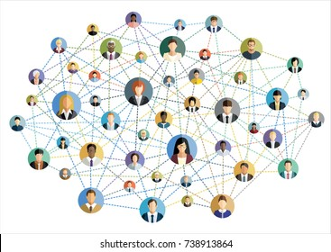 Vector illustration of social network scheme, which contains flat people icons.