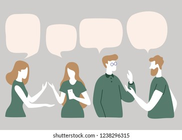 Vector illustration, social networks, flat style, news, chat, businessmen discuss social network dialogue speech bubbles