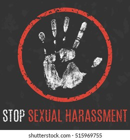 Vector illustration. Social problems of humanity. Stop sexual harassment.