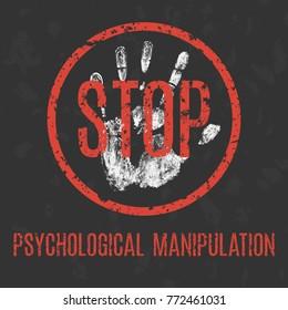 Vector illustration. Social problems of humanity. Stop psychological manipulation.