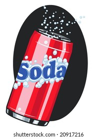 vector illustration of a soda can with fizz... all text and artwork is on one layer and contained within a clipping mask..