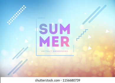 Vector illustration of Soft Colored Gradient Abstract Blurry Beautiful Beach with Circle Bokeh Background. Summer holiday concept poster or an invitation to a pool party.