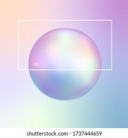 Vector illustration of the soft pastel chromatic sphere on the gradient background