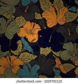 Vector illustration. Soft watercolor hibiscus flower print - seamless pattern in orange, brown and black colors.