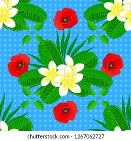Vector illustration. Soft watercolor plumeria flower print ~ seamless pattern in red, blue and green colors.