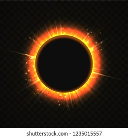 Vector illustration of solar Eclipse. Blackhole and explosion sunny rays on transparent background. Sun blackout
