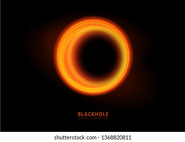 Vector illustration of solar Eclipse. Blackhole. space concept.