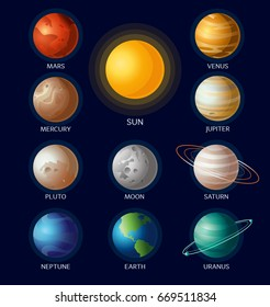 Vector illustration of solar system objects all planets with names and Sun on dark blue background in flat cartoon style.