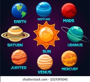 Vector illustration of the of the solar system planets(earth,neptune,mars,uranus,saturn,jupiter,venus,mercury)isolated on background