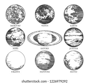 Vector illustration of a solar system space galaxy planets in hand drawn vintage engraving style. Mercury, Venus, Earth, Mars, Saturn, Jupiter, Uranus, Neptune, Pluto.