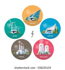 Vector illustration of solar, water, fossil, wind, nuclear power plants. Renewable and pollution electricity resource. Energy power station types with natural, thermal, hydro, chemical energy.
