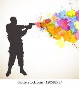 Vector Illustration of a Soldier and Colorful Splashes