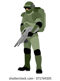 Vector illustration of a soldier of the future