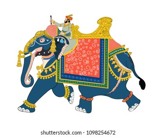 vector illustration of Soldier riding Elephant