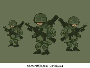Vector illustration of soldiers special forces green men. Caricature.