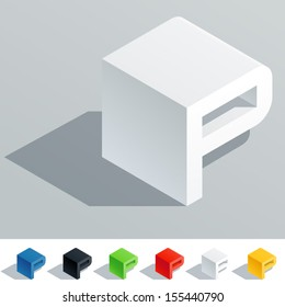 Vector illustration of solid colored letter in isometric view. Cube styled monospace characters. Symbol P