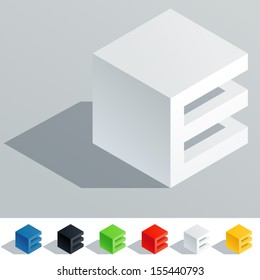 Vector illustration of solid colored letter in isometric view. Cube styled monospace characters. Symbol E
