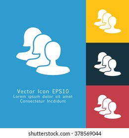 Vector illustration of solid community icon . Can be used as company logo, badge, web interface and mobile application button, pictogram