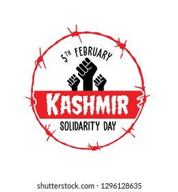 Vector Illustration of Solidarity with Hands Icon and Barb Wire - Kashmir Solidarity Day