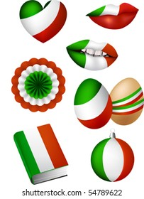 Vector illustration of some patriotic elements, italian flag color: lips, christmas bowl, easter egg, book, bunting, heart