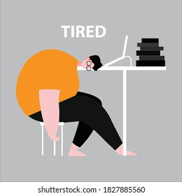 Vector illustration of someone tired work