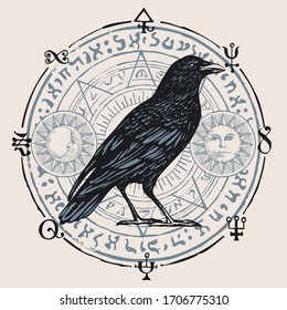 Vector illustration with a sorcery Raven on the background of an octagonal star with magic runes, occult symbols, sun, moon. Banner on the witchcraft theme with a wise black Crow in vintage style