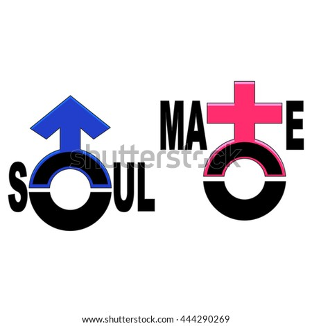 Vector Illustration Soulmate Symbol Stock Vector Royalty Free