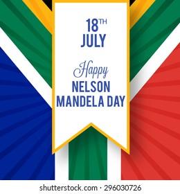 Vector illustration South Africa Flag for International Nelson Mandela Day.