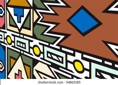 Vector illustration of South African Ndebele artwork