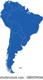 vector illustration of South America Continent map