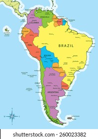 Vector Illustration Of South America Map With Countries In Different  Colors. Each Country Has Its