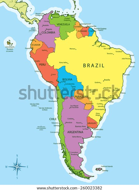 Vector Illustration South America Map Countries Stock Vector ...